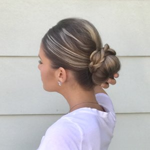 sock bun and braid updo